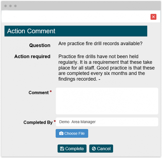 Action Management in inspection software